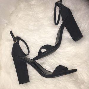 Black suede heels NWOT